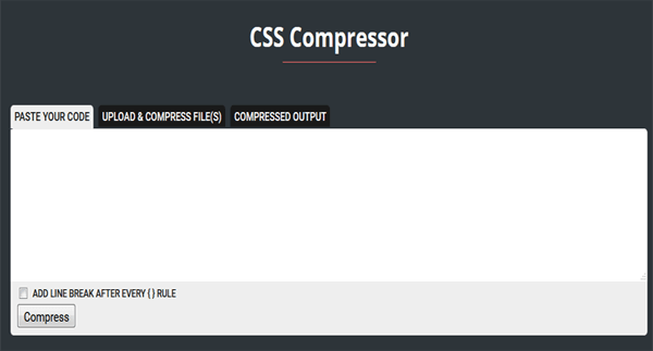 CSS Compressor Minify Your CSS Scripts Online