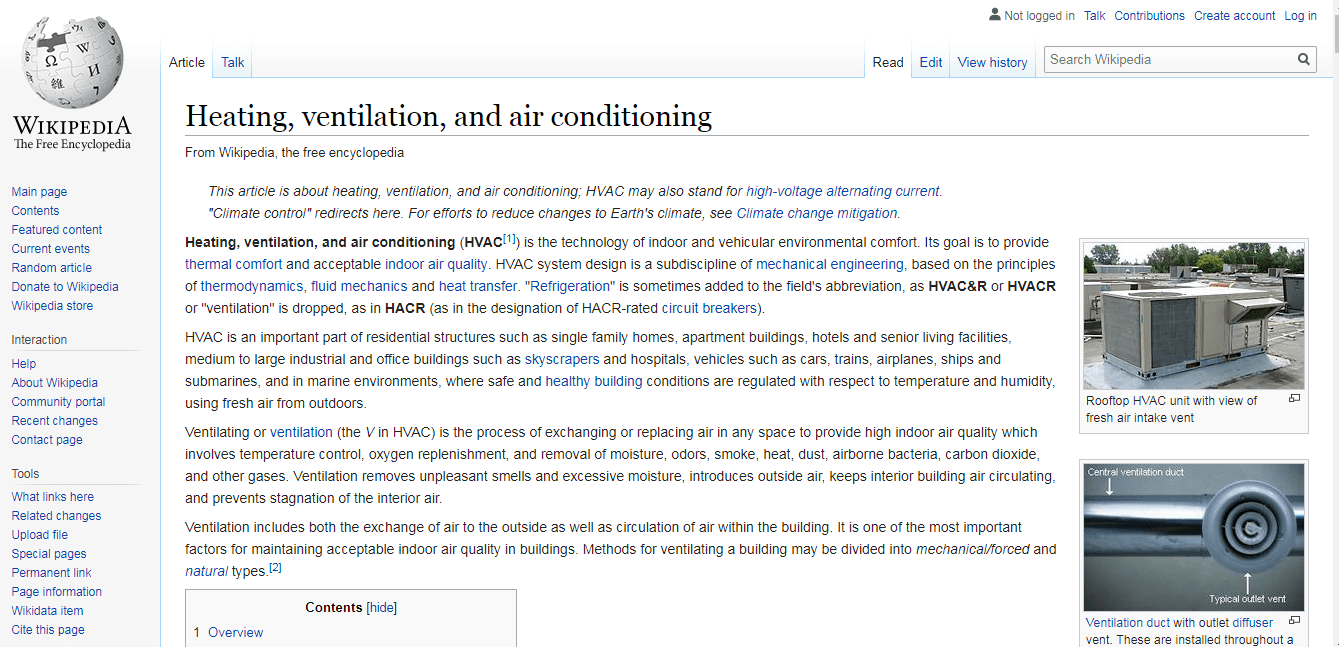 Heating Ventilation, and air Conditioning