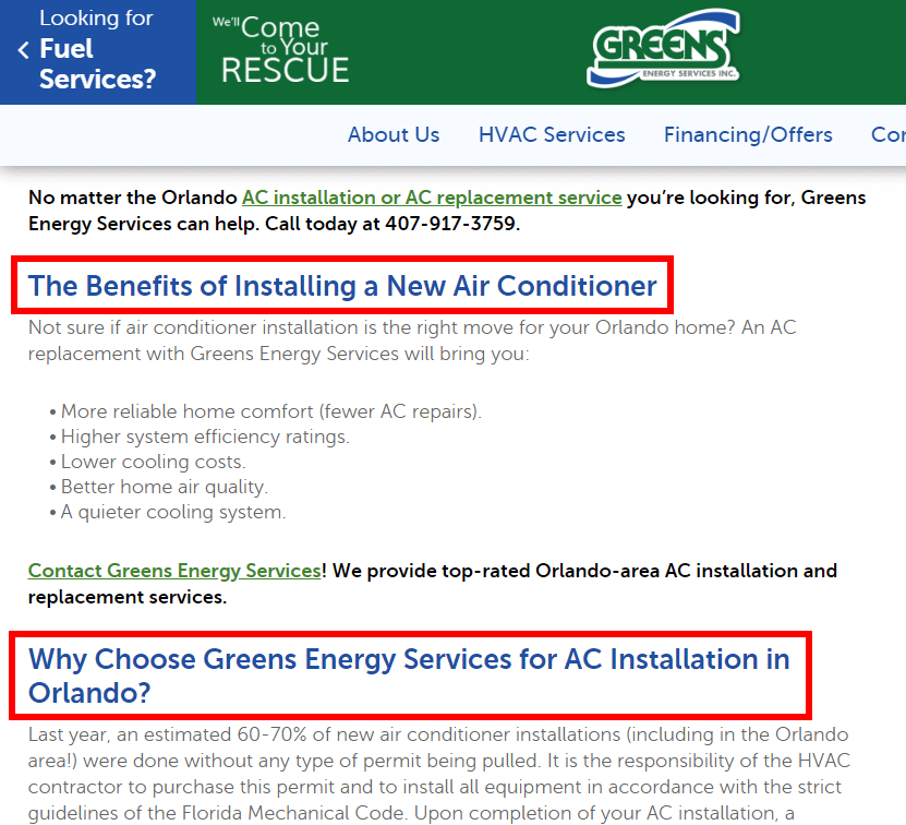 Air Conditioner seo Search Result